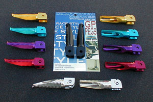 GP Slash cut aluminum foot pegs, Grand Prix, sportbike